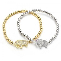 Gold Layered Fancy Bracelet, Elephant Design, with Cubic Zirconia and Micro Pave, Golden Tone