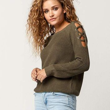 FULL TILT Lattice Shoulder Womens Sweater | Sweaters