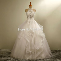 Bride White Organza Halter Wedding Gown With Appliques Beads Lace Up Back Bridal Gowns Real Po Vestido de noiva Alternative Measures