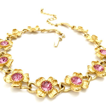 Trifari TM Dogwood Necklace, Seven Gold Tone Flowers with Pink Rhinestone Centers, Four Gold Tone Flowers, Vintage Jewelry, Designer Signed
