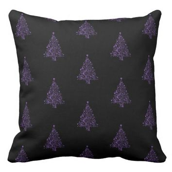 Merry Christmas Tree Pattern Black Purple Elegant Throw Pillow