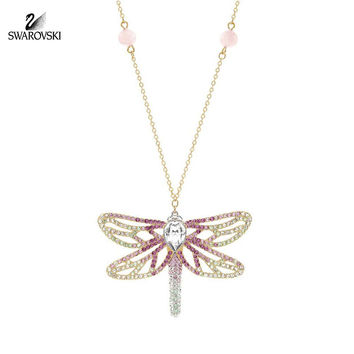 Swarovski Crystal CANDY Dragonfly Pendant Necklace Gold Plated #5120160