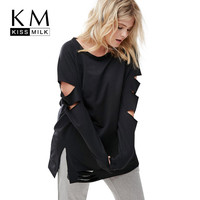 Kissmilk Plus Size New Fashion Women Clothing Casual Black Solid Tops Split Long Sleeve Big Size Sweatershirt 3XL 4XL 5XL 6XL