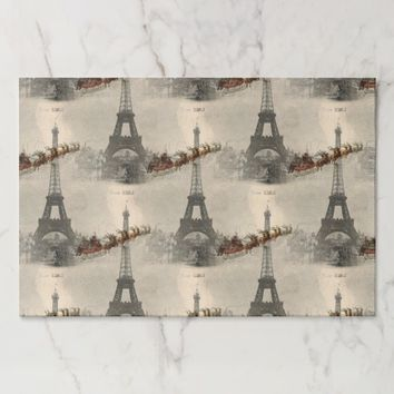 Vintage Santa over Paris Christmas Paper Placemats