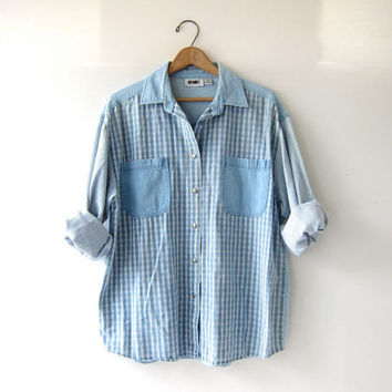 vintage denim shirt. washed out plaid + striped shirt. button down jean shirt. oversized shirt