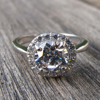 Lovely Crystal Halo Ring- Engagement Ring- White Crystal Ring- Her His Promise Rings- Silver Halo Ring- Anniversary Ring