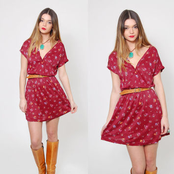 Vintage 70s FLORAL Mini Dress Maroon Blouson Short Sleeve Boho Dress Hippie Mini Dress