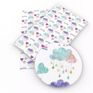 Watercolor rainbow clouds & stars faux leather fabric sheet
