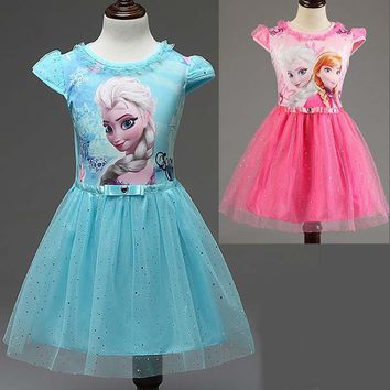 New Summer children's clothing girls dresses elsa princess dress for girl infant kids costume party baby snow Queen baby clothes