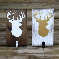 Rustic Wooden Christmas Stocking Holder, Rustic Stocking Hanger, Deer Head Silhouette Wall Sign, Rustic Coat Hanger, Woodland Nursery Decor