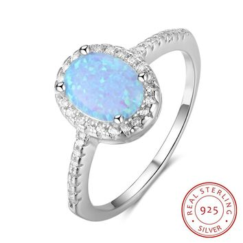 Oval Blue Opal Stone 925 Sterling Silver Rings For Women Fashion Engagement Jewelry Accessories Gift for Her  (RI103298)