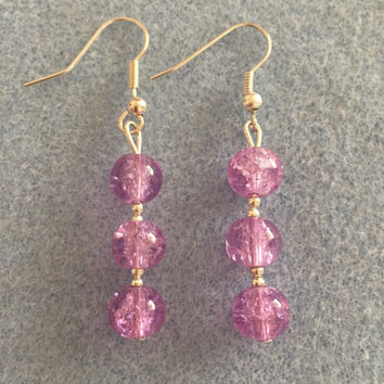 Handmade Crystal Tips Dangle Earrings