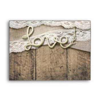 Rustic Country Love Rope Burlap Lace Barn Wedding Envelope