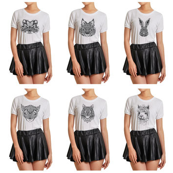 Women Animals head Tattoo Graphic Printed Short Sleeves T- Shirt WTS_07