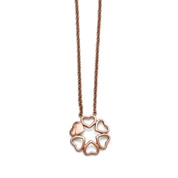 Circle of Hearts Necklace in Stainless Steel - Lobster Claw Cable Chain