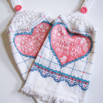 Pink Heart Dish Towels Hanging Dish Towels Crochet Button Top Towels Kitchen Towels Hand Towels