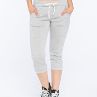 Full Tilt Womens French Terry Cropped Jogger Pants Heather Grey  In Sizes