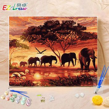 2016 DIY Oil Painting By Numbers Animals Elephant 8941 Frameless Painting On Canvas Home Decoration Home Room Decor 40x50cm