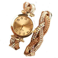 Geneva Gold Face w/ Gold, White & Opalescent Crystal Braided Leather Watch