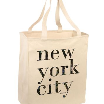 New York City - City Lights Large Grocery Tote Bag by TooLoud