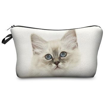 Super Cute Kitty Cat Colorful Photo Printed Chic Women's Makeup Cosmetic Bag Zippered Pouch