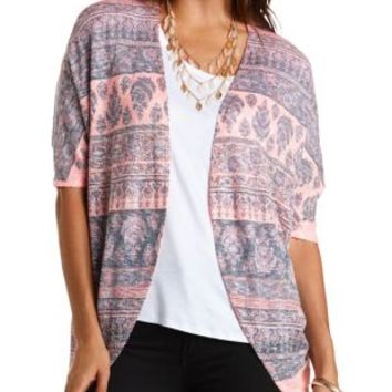Paisley Print Cocoon Cardigan by Charlotte Russe - Neon Coral