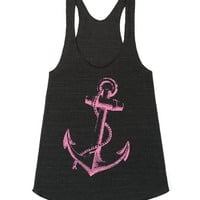 Pink Anchor-Unisex Athletic Tri Black Tank