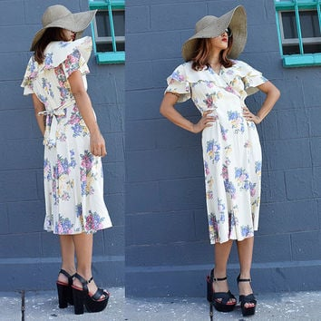 Vintage wrap dress ruffle layer collar egg shell cream creme floral flower mid century day dress rose
