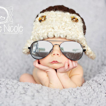 Baby Aviator Hat Pilot Newborn 0 3m 6m Brown Bomber Hat Crochet Photo Prop  Baby Clothes bcbb80752c9