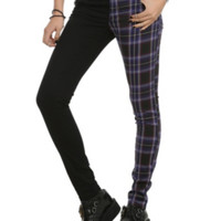 Split Leg Black And Purple Plaid Skinny Pants