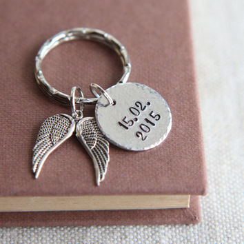 Wing keychain, Wing Keyring, Date Keychain, Date Keyring, Angel Wing Keychain, Angel Wing Keyring, Memory keychain, Hammered Key chain