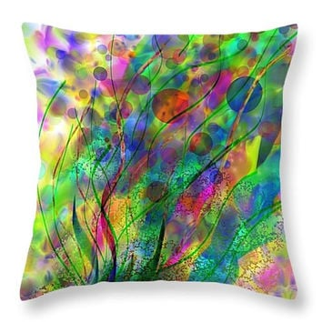 Decorative accent throw pillow, abstract, contemporary modern home decor artwork on pillow colorful watercolor flowers