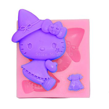 DIY Cartoon Hello Kitty Skirt Silicone Fondant Soap 3D Cake Mold Cupcake Candy Chocolate Decoration Baking Tool Moulds FQ1673