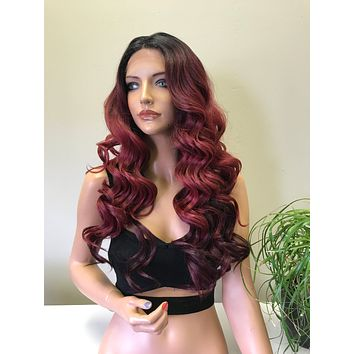 Ombre Burgundy Red Swiss Front Lace Wig | Long Soft Layered Hair