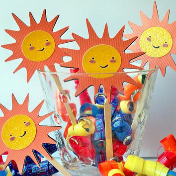 Sunshine Cupcake Toppers - Beach Party - Shower - Birthday Set of 12 Cup Cake Toppers