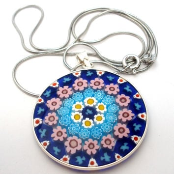 Millefiori Art Glass Pendant Necklace Sterling Silver