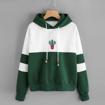 Womens Sweatshirt Long Sleeve Cactus Print Hoodie Sweatshirt Hooded Pullover Tops