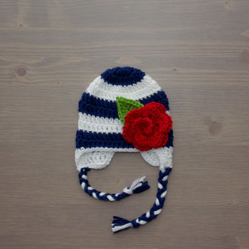 Navy Blue and White Striped Crochet Baby Hat with Flower, Crocheted Baby Hat, Crochet Baby Girl Hat, Shower Gift, Newborn Photography Prop