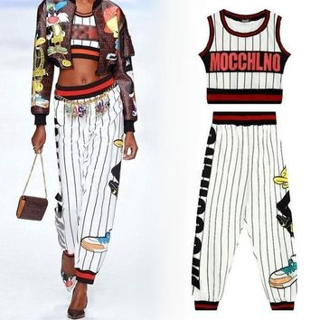PEAPGB2 women fashion crop tank top harem capri pants ladies street style HARAJUKU sexy outfit stripe cartoon cute 2 two piece set woman