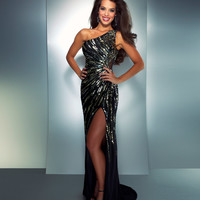 Mac Duggal Prom 2013 - One Shoulder Black Sequined Dress - Unique Vintage - Cocktail, Pinup, Holiday & Prom Dresses.