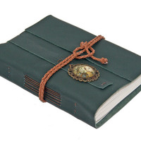 Green Leather Journal with Steampunk Cameo Bookmark - Ready to Ship