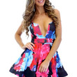 Printed Plunging Cutout Neckline Skater Dress with Adjustable Straps