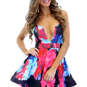 Floral Print Spaghetti Strap V-neck Mini Skater Dress