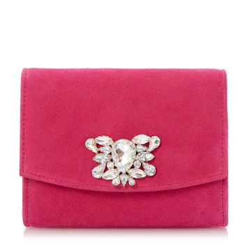 DUNE ACCESSORIES BERNADETTE - Jewelled Brooch Trim Clutch Bag - raspberry | Dune Shoes Online