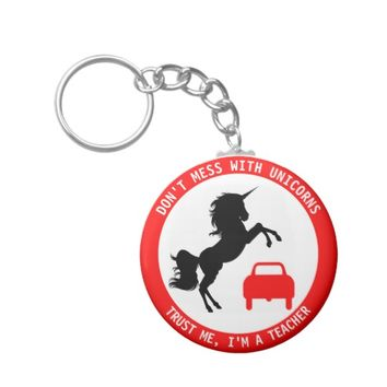 Funny Teacher With Unicorn And Traffic Sign Keychain