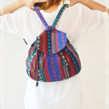 Unique Bohemian Design Hmong Fabric Backpack Medium Size Bag 12,Fabric bag,Hobo Style,Small Backpack,Travel Bag,Rucksack,Hipster Bag