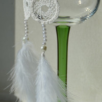 SALE 40% Dreamcatcher Earrings, White Feather Earrings with Beads, Dangle Earrings