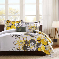 Twin / Twin XL Size Yellow Floral Flowers 3 Piece Comforter Set