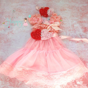 Valentine dress, Sweetheart Pink Duo Hearts Chiffon Lace Dress,Pink Dress,baby dress,Birthday outfit, Babydoll dress,Valentines, girls dress