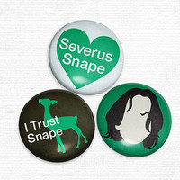 Pinback Buttons Severus Snape Original Illustrations by hownice